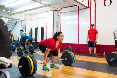 Mary sets up for dead lift at CrossFit Hells Kitchen. Photo Credit: Annabel Clark for The Wall Street Journal
